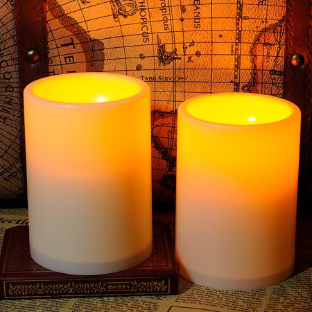 Home Impressions 3X4 Inches Flameless Plastic Pillar Led Candle Light With Timer,Battery Operated,Ivory,pack of 2 - Bulk Flameless Candles