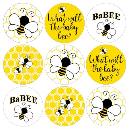 What Will It Bee Party Stickers, 216 ct - Baby Gender Reveal Party Supplies Bumble Bee Baby Shower Decorations - 216 Count Stickers](Reveal Party Decorations)