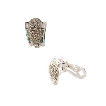 Bridal Earrings Silver Crystal Clip On - Bridal Clip Earrings