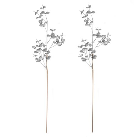 BalsaCircle 2 pcs 32-Inch tall Silver Glittered Leaves Stems Sprays Wedding Party Arrangements Tabletop Centerpieces Decorations