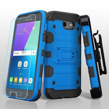 Galaxy J3 Luna Pro Case Galaxy J3 2017 Case, Galaxy J3 Emerge Case, by Insten Storm Tank Hybrid Holster Case + Glass Protector For Samsung Galaxy Express Prime 2/J3 (2017) -