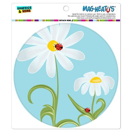 Sweet Ladybugs on Flowers - Circle MAG-NEATO'S(TM) Car/Refrigerator (Sweet 16 Magnet)