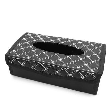 White Black Foldable Facial Tissue Box Napkin Storage Case Holder for Car