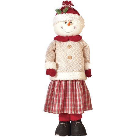 Indoor / Outdoor Winter Decorations, Self Standing Snowman Couple with Extendable Legs, 30