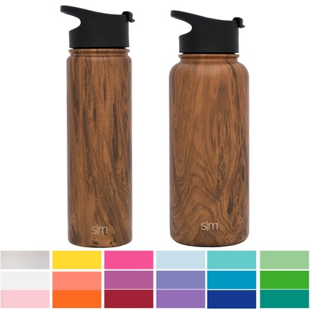 Simple Modern 32oz Summit Water Bottle + Extra Lid - Vacuum Insulated Thermos Stay Hot & Cold 18/8 Stainless Steel Flask - Hydro Travel Mug - Wood