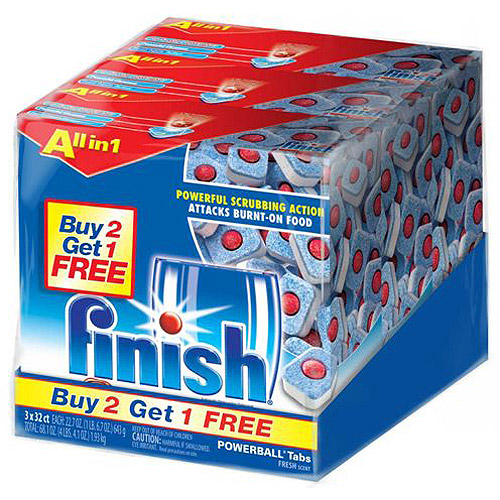 Finish Powerball Tabs Dishwasher Detergent, Fresh Scent, 32ct (Pack of 3)