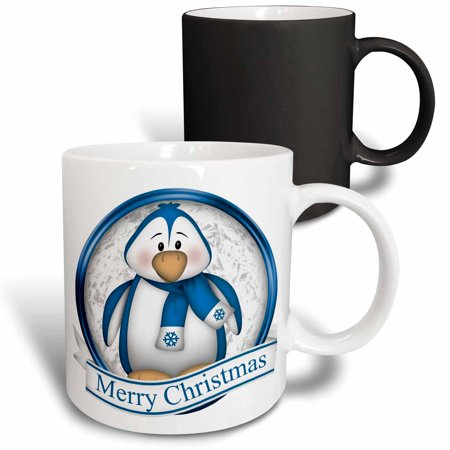 - 3dRose Cute Bright Blue and White Penguin With Merry Christmas - Magic Transforming Mug, 11-ounce