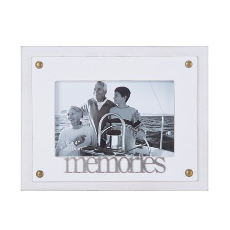 Melannco 8 Inch by 7 Inch White Tabletop Memories Photo Frame ...