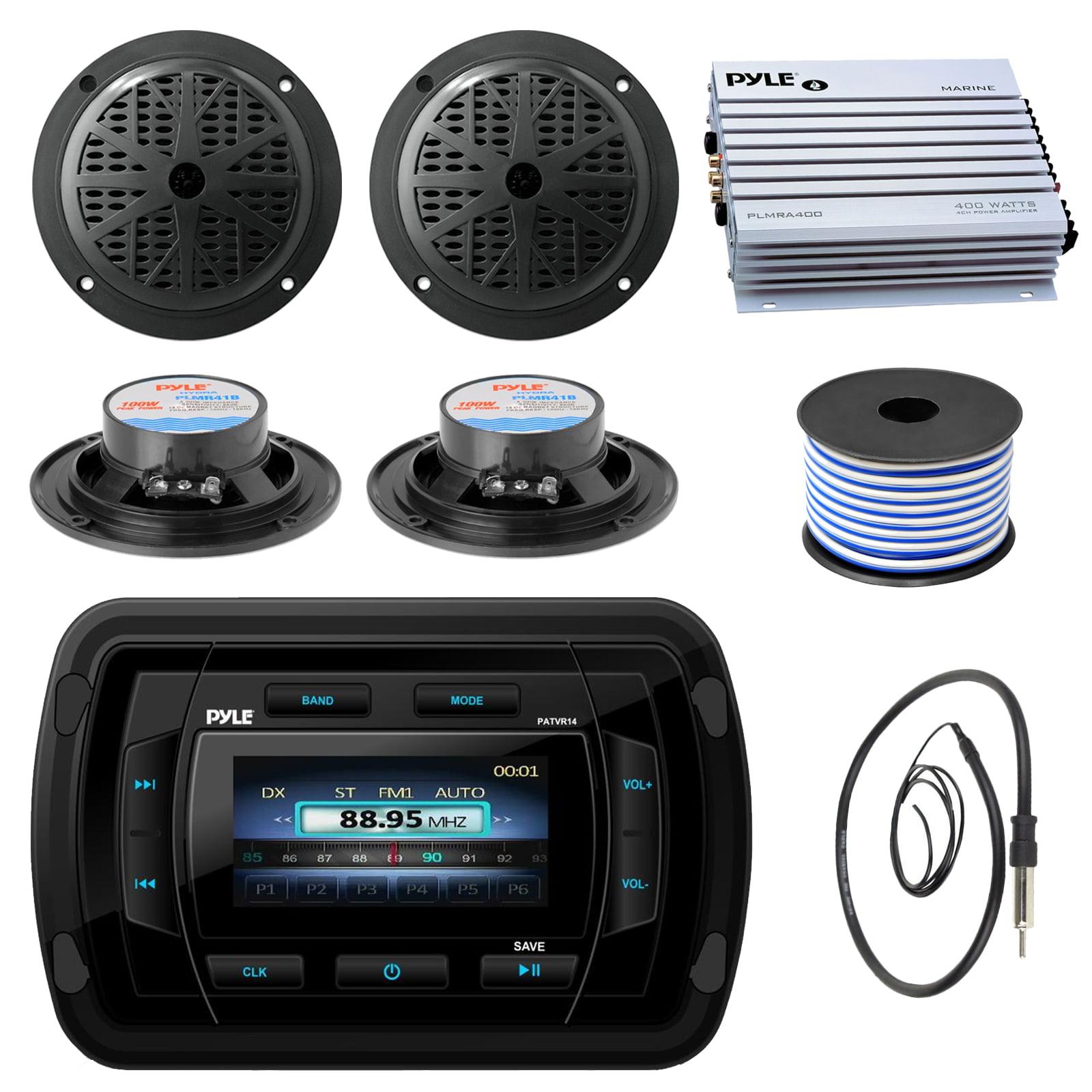 New Yacht Boat Marine MP3 USB Stereo Radio Receiver 4  X Speakers /& 400Watt Amp