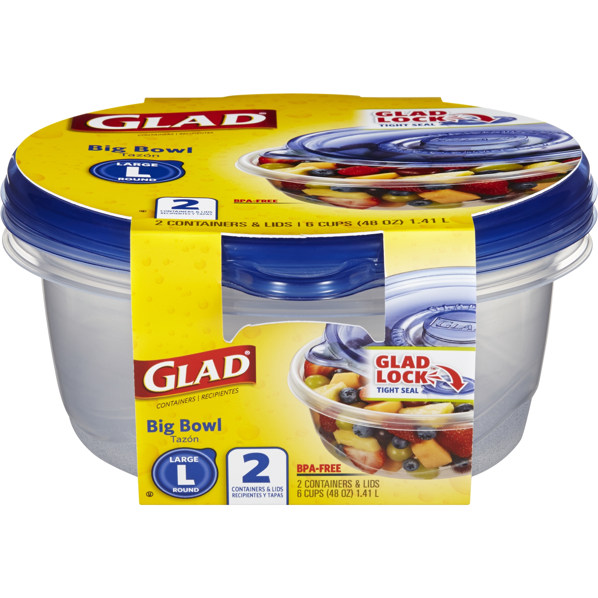Glad Food Storage Containers - Big Bowl Container - 48 oz - 2 Containers