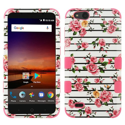 For ZTE ZFive G LTE / ZFive C / Avid 4 / Fanfare 3 / Blade Vantage / Tempo X / Tempo Go Case Dual Layer Tuff Hybrid Phone Cover (Pink Fresh Roses/Pink)