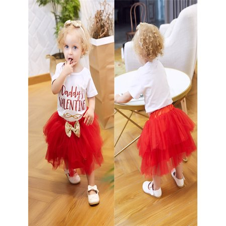 deaa41634 Newborn Infant Baby Girl Letter Romper Tops+Skirt Valentine's Day Outfits  Set - Walmart.com