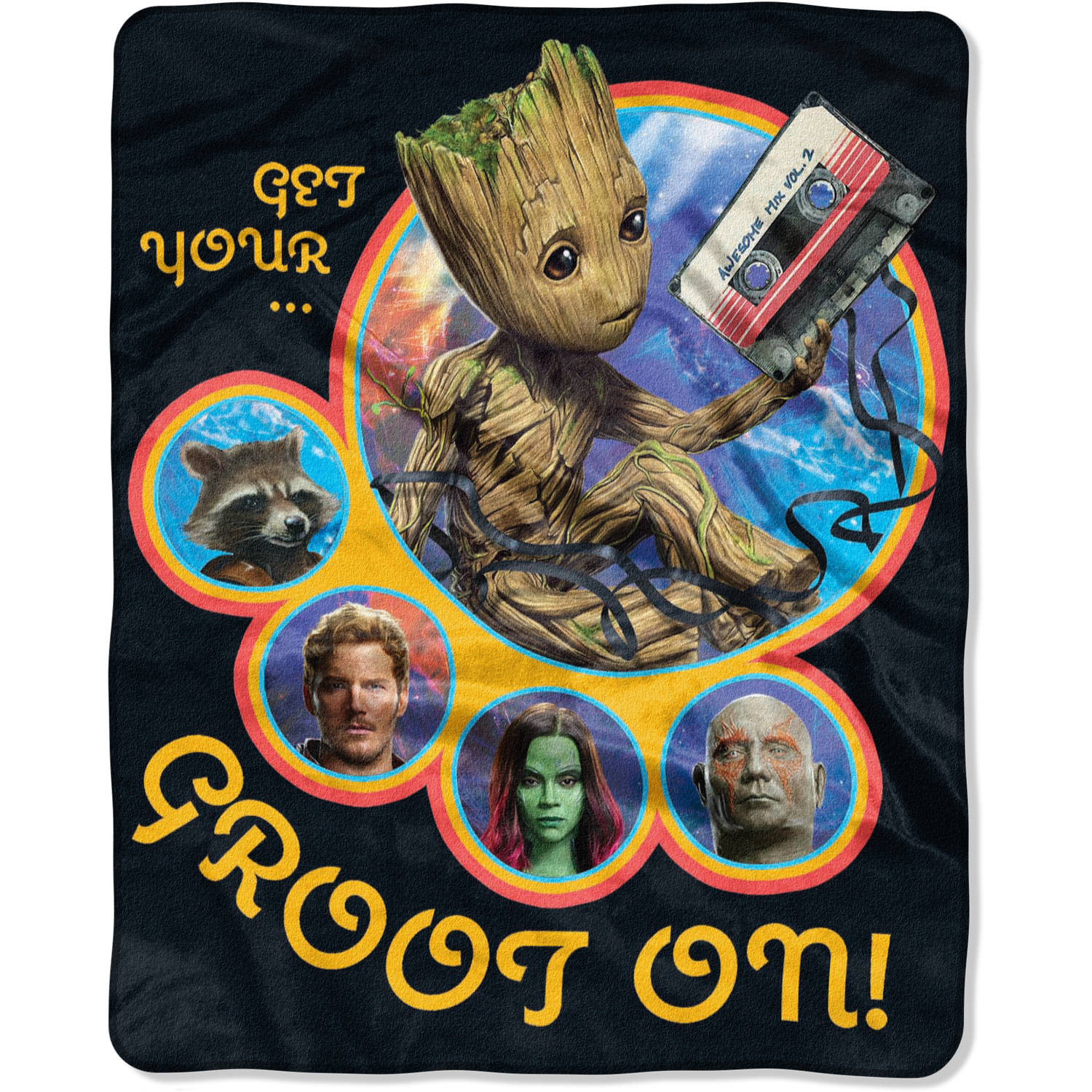 """Marvel Guardians of the Galaxy Vol. 2 """"Get Grootin"""" 40"""" x 50"""" Silk Touch Throw"""