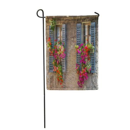KDAGR Red Vintage Windows Open Wooden Shutters and Fresh Flowers Garden Flag Decorative Flag House Banner 12x18 inch ()