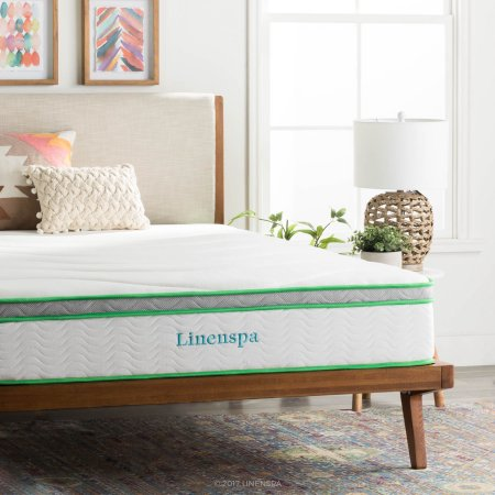 "Linenspa 10-Inch Latex Hybrid Mattress with Mainstays HUGE Pillow in 20""x28"" in Blue and White Stripe Bundle"