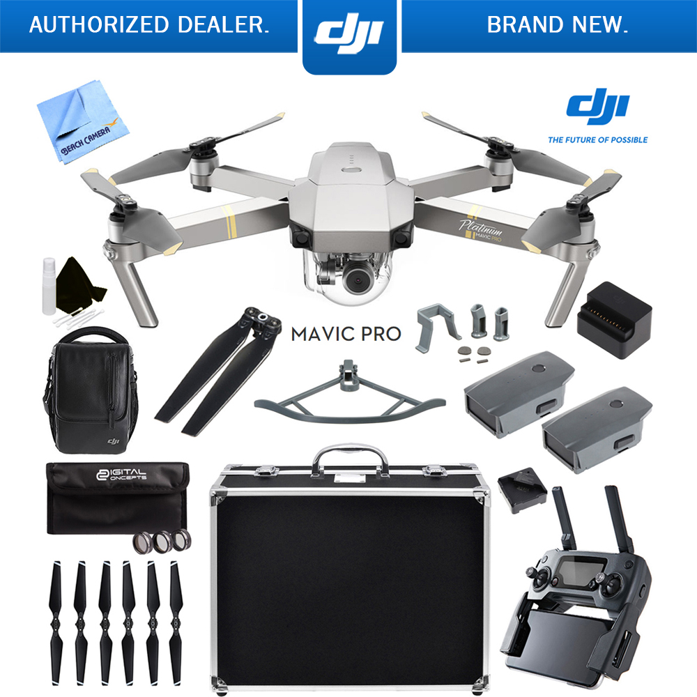 DJI Mavic Pro Platinum Quadcopter Drone with 4K Camera Fly More Combo with 2 More Batteries Ultra Kit by DJI