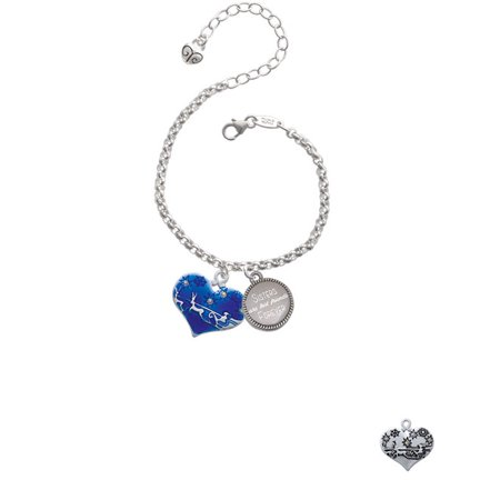 Silvertone Large Blue Flying Santa Heart with AB Crystals Sisters Are Best Friends Forever Engraved Bracelet