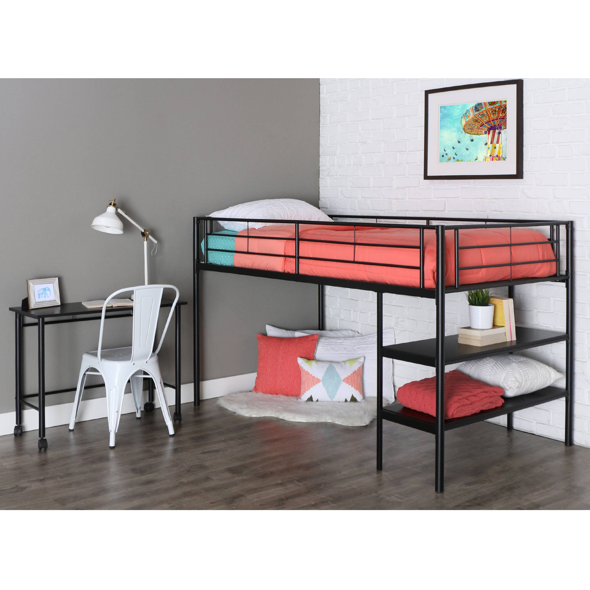 Twin Metal Loft Bed with Desk and Shelving - Black