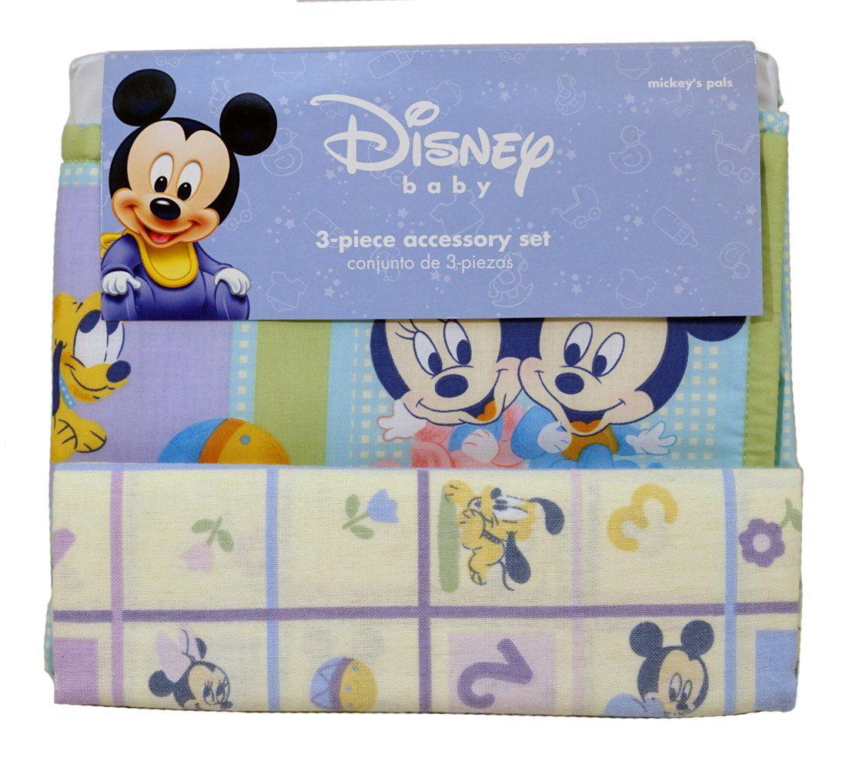 Disney Baby 3 Pc Accessory Set Flannel Blanket Crib Dust Ruffle Diaper Stacker