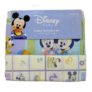 Disney Mickey Mouse Baby 3 pc Accessory Set ~ Receiving Blanket + Crib Dust Ruffle + Diaper Stacker
