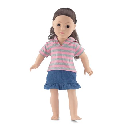 18 Inch Doll Clothes | Awesome Medium Wash Blue Denim Ruffled Skirt Outfit, Including Short Sleeved Striped T-Shirt with Hood | Fits American Girl Dolls