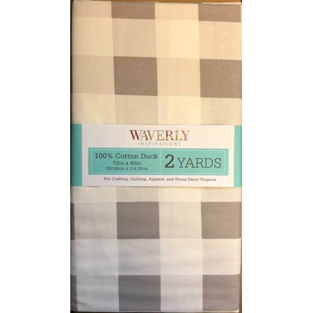 "Waverly Inspirations 45"" Pre-Cut 100% Cotton Buffalo Plaid Grey Fabric, 1 Each"