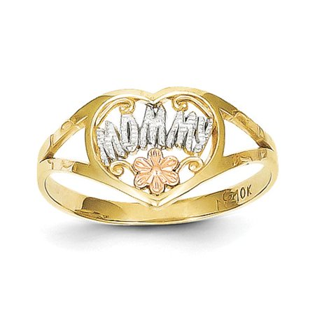 10k Two Tone Gold & Rhodium Mommy Heart Ring