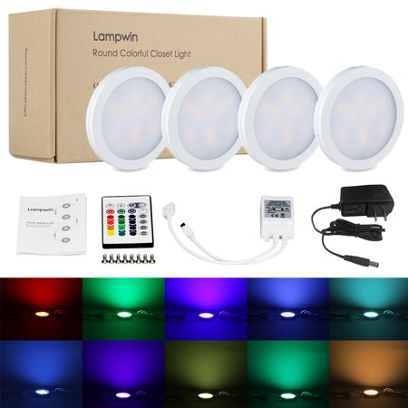 Lampwin Lighting Under Cabinet Lighting Kit, Aluminum Shell, RGB White Color Change Led Puck Lights for Kitchen Shelf Decoration 4 (App To Change Color Of Kitchen Cabinets)
