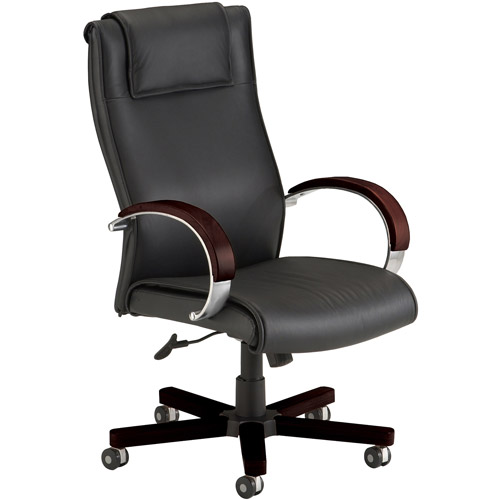 OFM Apex Executive Leather Hi-Back Chair with Wood Arm and Base Accents