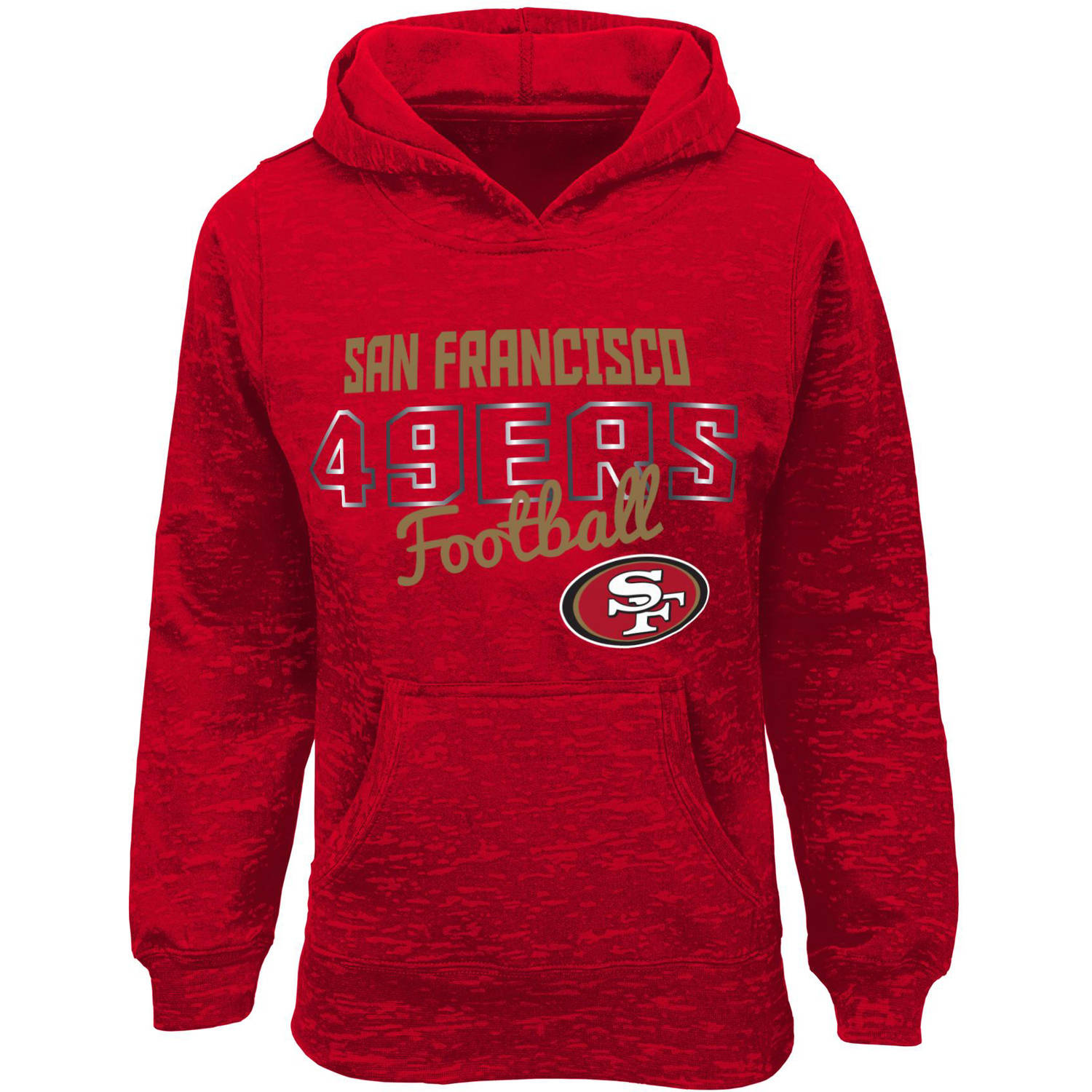 NFL Girls 49Ers Burnout Team Hooded Fleece
