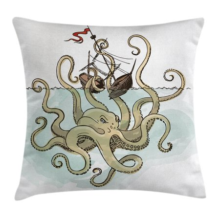 Kraken Decor Throw Pillow Cushion Cover, Octopus Sinking the Pirate Ships Greek Myth Fish Culture Cartoon Art Image, Decorative Square Accent Pillow Case, 18 X 18 Inches, Tan Pale Green, by Ambesonne](Pirate Decor)