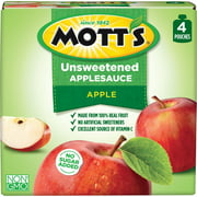 Mott's No Sugar Added Applesauce, 3.2 oz clear pouches, 4 count