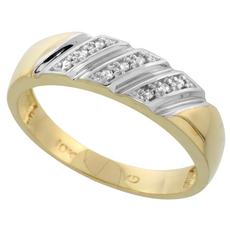 10k Yellow Gold Mens Diamond Wedding Band Ring 0.05 cttw Brilliant Cut, 1/4 inch 6mm wide