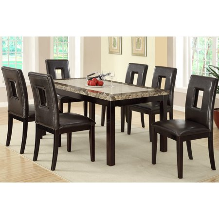 Casual Two Toned Faux Marble Top Dining Table Square Eyelet Cuts Dark Brown F