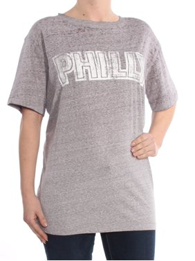82509eab Product Image FREE PEOPLE Womens Gray Graphic Short Sleeve Crew Neck Top  Size: L