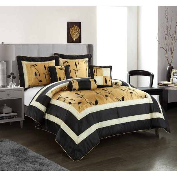 nanshing pastora luxury 6 piece bedding comforter set with 3 bonus decorative pillows full queen black gold