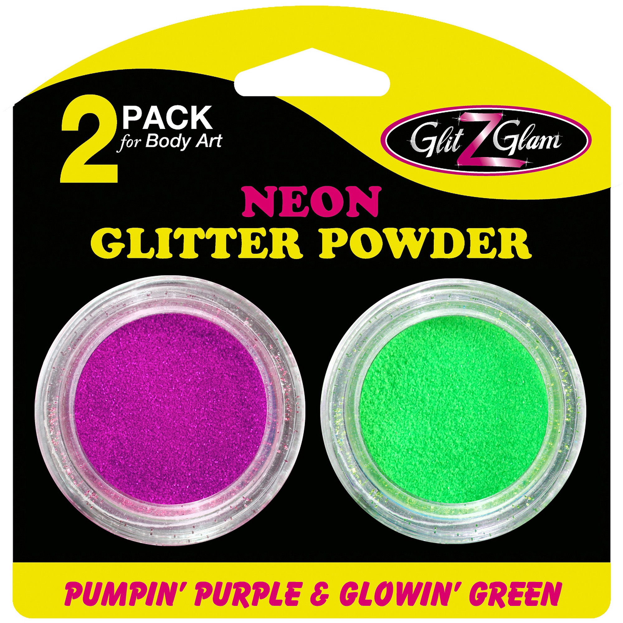 GlitZGlam Glitter Neon Pumpin' Purple and Glowin' Green for Glitter Tattoos and Body Art, 2pk