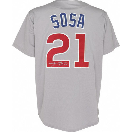 MLB - Sammy Sosa Autographed Jersey | Details: Chicago Cubs, Grey Road Majestic Replica