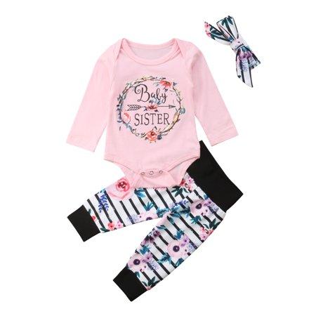 c935bd765c05 Newborn Baby Girls Floral Long Sleeve Romper Jumpsuit Striped Pants Outfits  Headband Clothes 3PCS Set - Walmart.com