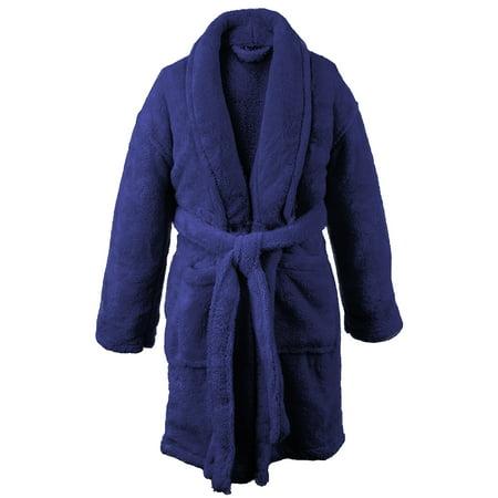 BC BARE COTTON Kids Microfiber Fleece Shawl Robe - Girls - Navy Blue -