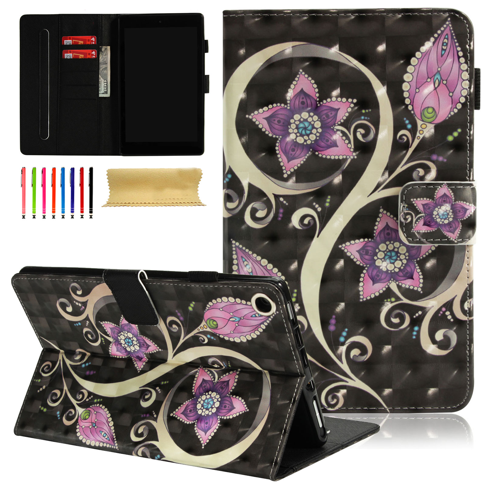 Fire HD 8 2017/ 2016/ 2015 Case, Goodest 3D Diamond Colourful Pattern Wallet Folio Stand Case with Auto Sleep/Wake for All-New Amazon Kindle Fire HD 8 Tablet (5th/6th/7th Generation),Peacock Flower