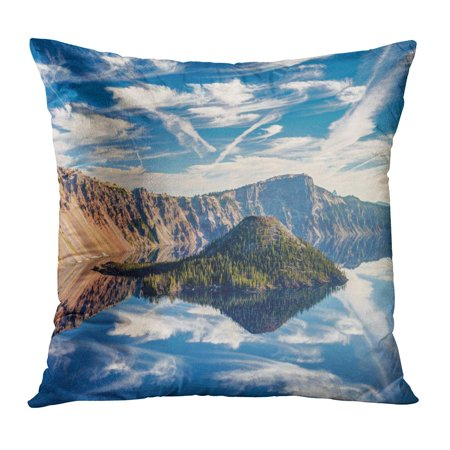 BOSDECO Perfect Reflection of Wizard Island Some Amazing Clouds at Crater Lake Just After Sunrise National Park Pillowcase Pillow Cover Cushion Case 16x16 inch - image 1 de 1