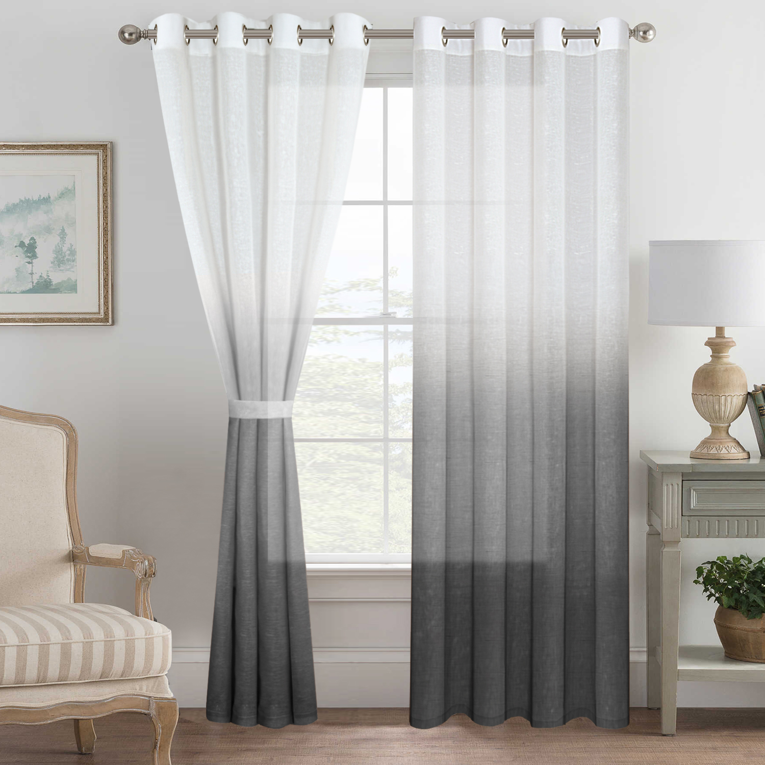 2 Panels Ultra Luxurious Natural Linen Blended Semi Sheer Curtains Breathable And Airy Ombre Curtains Window Treatment With Ring Top For Girls Room With Tie Backs 52x96 Inch Indigo Walmart Com