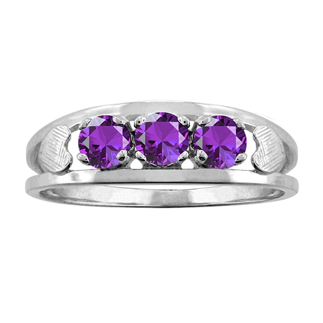 10k White Gold Designer Round-cut Birthstone Ring