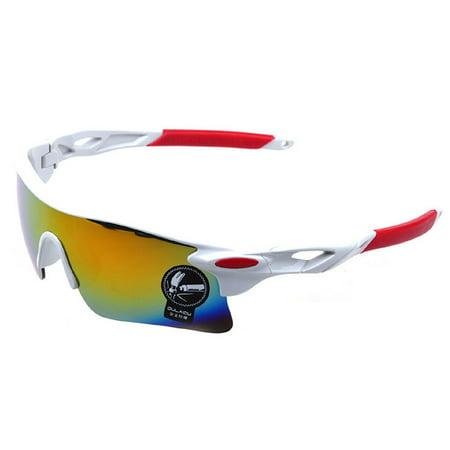 UV400 Sunglasses Men Outdoor Sports Cycling Goggles Bicycle Bike Riding Driving Fishing Running Eyewear Eyeglass - White + Red](Halloween Boston Bike Ride)