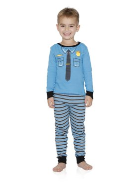 Dead Tired Boys' Pajamas Cotton Snug Fit Lounge Pants and Long Sleeve Top Sleepwear Sets, Policeman, Size: 7