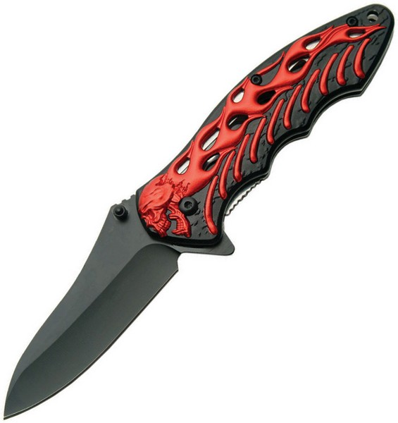 SZCO Supplies 300290-RD Assisted Opening Skull Bones Folding Knife, Black/Red Multi-Colored