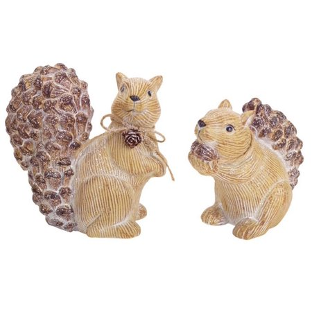 Pack of 6 Frosted Beige Pine Cone Squirrel Table Top Christmas Decorations 5