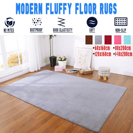 5 Colors Washable Modern Soft Floor Rug Plush Rug Anti-Skid Shaggy Rug Home Dining Room Bedroom Velvet Carpet Floor Mat Pad Child Play Mat Yoga Mat 56x79