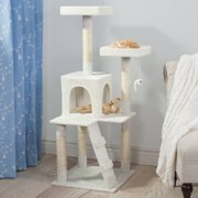 Penthouse Sleep and Play Cat Tree by PETMAKER, 4 ft tall, White
